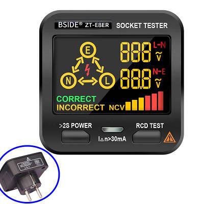 Тестер розеток цифровой BSIDE ZT-E8ER, с функцией бесконтактного индикатора напряжения