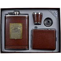 Подарочный набор, Jim Beam, фляга + портсигар + стопка + лейка