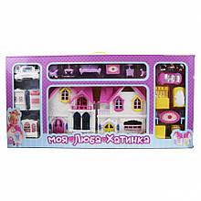 Будиночок для ляльок з меблями WD-921 фігурки і машинка в наборі (Жовтий)