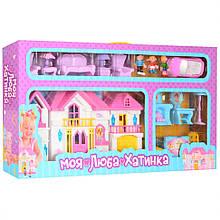 Іграшковий будиночок для ляльок WD-922 з меблями і машинкою (Блакитний)