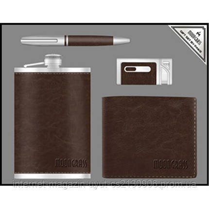 Подарочный набор Moongrass, фляга + ручка + зажигалка + портмоне, фото 2