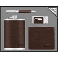 Подарочный набор Moongrass, фляга + ручка + зажигалка + портмоне