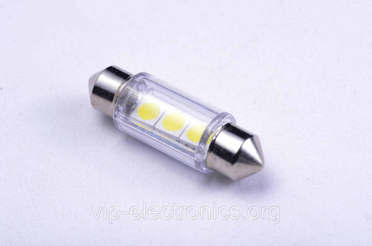 Світлодіодна автолампа для цоколя S85-36mm-3pcs 5050 (24V) white