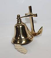 Сувенірна ринда (корабельний дзвін) з латуні Якір 7,5 см