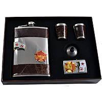 Подарочный набор, фляга + стаканы + лейка + зажигалка