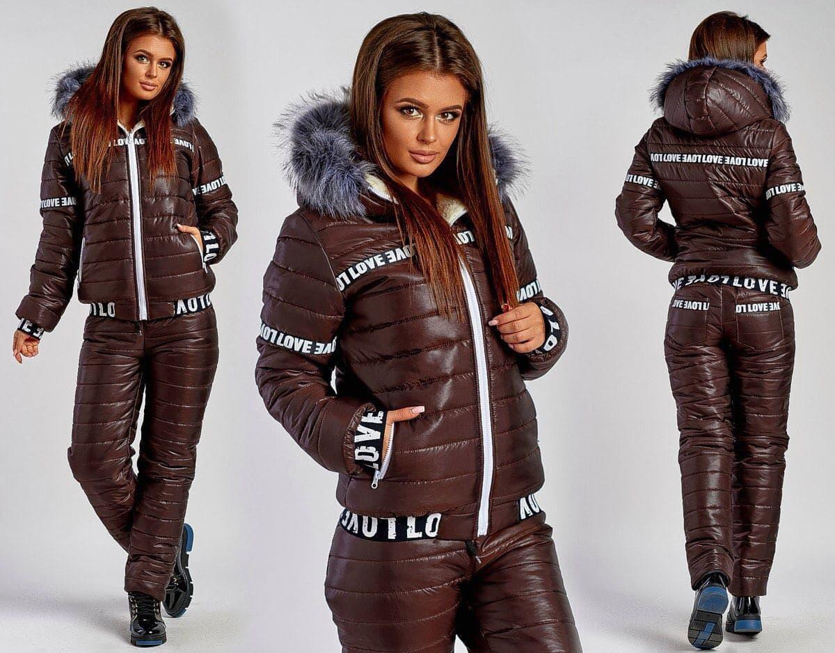 Женский лыжный костюм на меху батал SKL92-279625