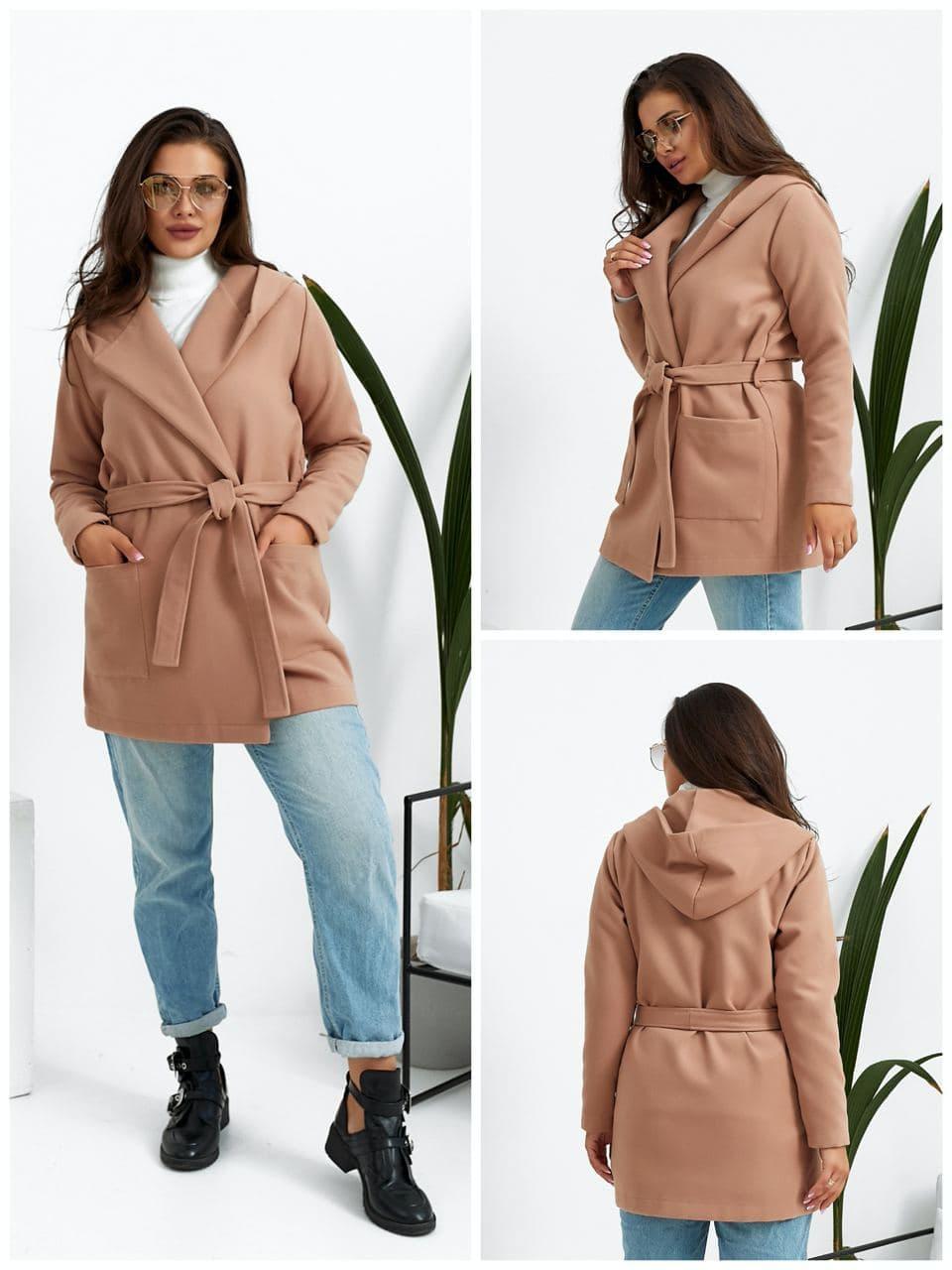 Жіноче кашемірове пальто бежеве SKL92-289478