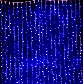 Xmas Гірлянда ВОДОСПАД 240(на коробці 400) LED,прозорий провід/2.5*1.5/СИНІЙ