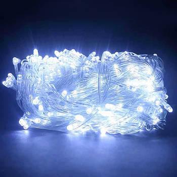 Xmas Нить 100 LED/БЕЛЫЙ/Прозрачный провод/10 метров