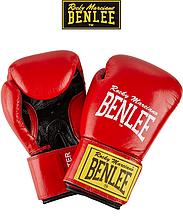 Боксерские перчатки тренировочные Benlee FIGHTER 10oz, кожа, красно-черные