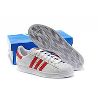 "Кроссовки Adidas Superstar ""White Red"" - ""Белые Красные"" (Копия ААА+), фото 1"