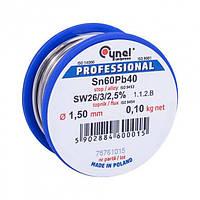 Припій Cynel Sn60Pb40 на котушці 1,5 мм, 100г.