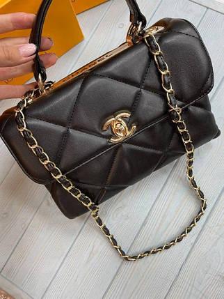 Жіноча сумка Шанель репліка в чорному кольорі, фото 2