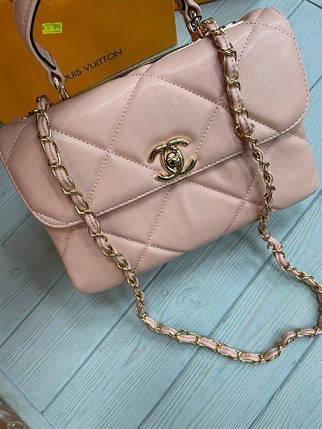 Жіноча сумка Шанель репліка в рожевому кольорі, фото 2