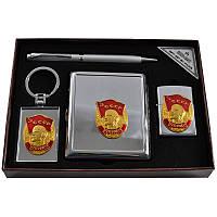 Подарочный набор, портмоне + зажигалка + ручка + брелок