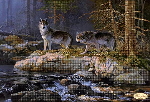 """Рисунок на ткани для вышивания бисером """"У реки. Волки"""", фото 2"""