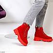 Яркие красные замшевые женские зимние ботинки молния+шнуровка низкий ход, фото 5