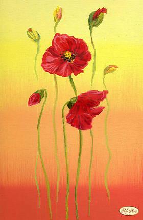 """Рисунок на ткани для вышивания бисером """"Маковый цвет"""""""", фото 2"""