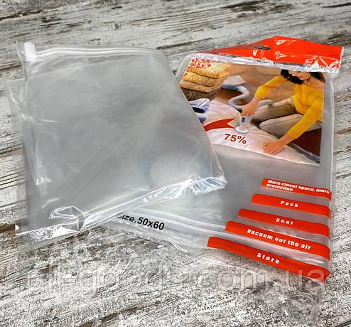 Вакуумний пакет для зберігання речей ADK 50х60 см (прозорий) All, фото 2
