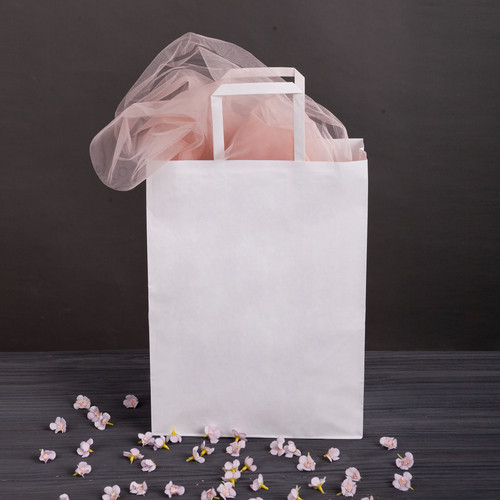 Карфт пакет з плоскими ручками і дном 320*150*380 мм великий білий паперовий пакет