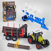 Детский трактор инерционный с прицепами световые и звуковые эффекты