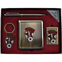 Подарочный набор, портмоне + ручка + брелок + зажигалка