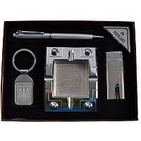 Подарочный набор, пепельница + зажигалка + ручка + брелок
