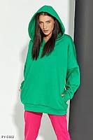 Трикотажная стильная женская худи с капюшоном и карманом кенгуру