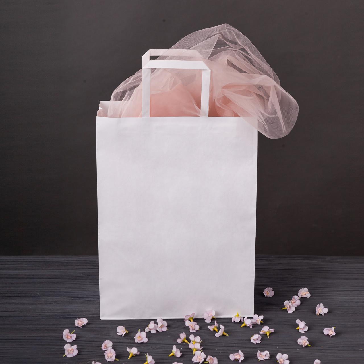 Пакет бумажный с плоскими ручками большой 320*150*380 мм белый крафт пакет с ручками, упаковка 500 штук