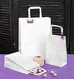 Пакет бумажный с плоскими ручками большой 320*150*380 мм белый крафт пакет с ручками, упаковка 500 штук, фото 2