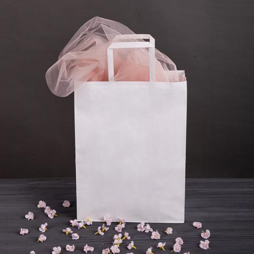 Крафт пакет подарочный с плоскими ручками и дном 320*150*380 мм большой белый бумажный пакет