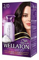 Краска-мусс для волос стойкая WELLATON 2/0 Черный