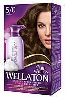 Краска-мусс для волос стойкая WELLATON 5/0 Темный дуб