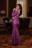 Очаровательное женское гипюровое платье в пол рыбка с длинными рукавами спина открытая
