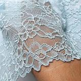 Стрейчевое (эластичное) кружево голубого цвета шириной 18 см., фото 5