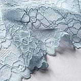 Стрейчевое (эластичное) кружево голубого цвета шириной 18 см., фото 3