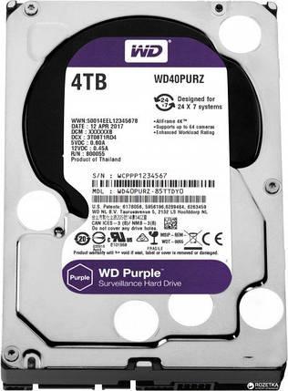 Жорсткий диск Western Digital Purple 4TB 5400rpm 64MB WD40PURZ 3.5 SATA III, фото 2