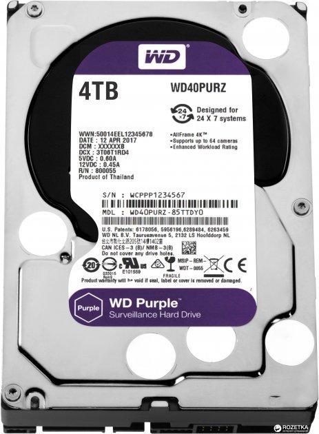 Жорсткий диск Western Digital Purple 4TB 5400rpm 64MB WD40PURZ 3.5 SATA III