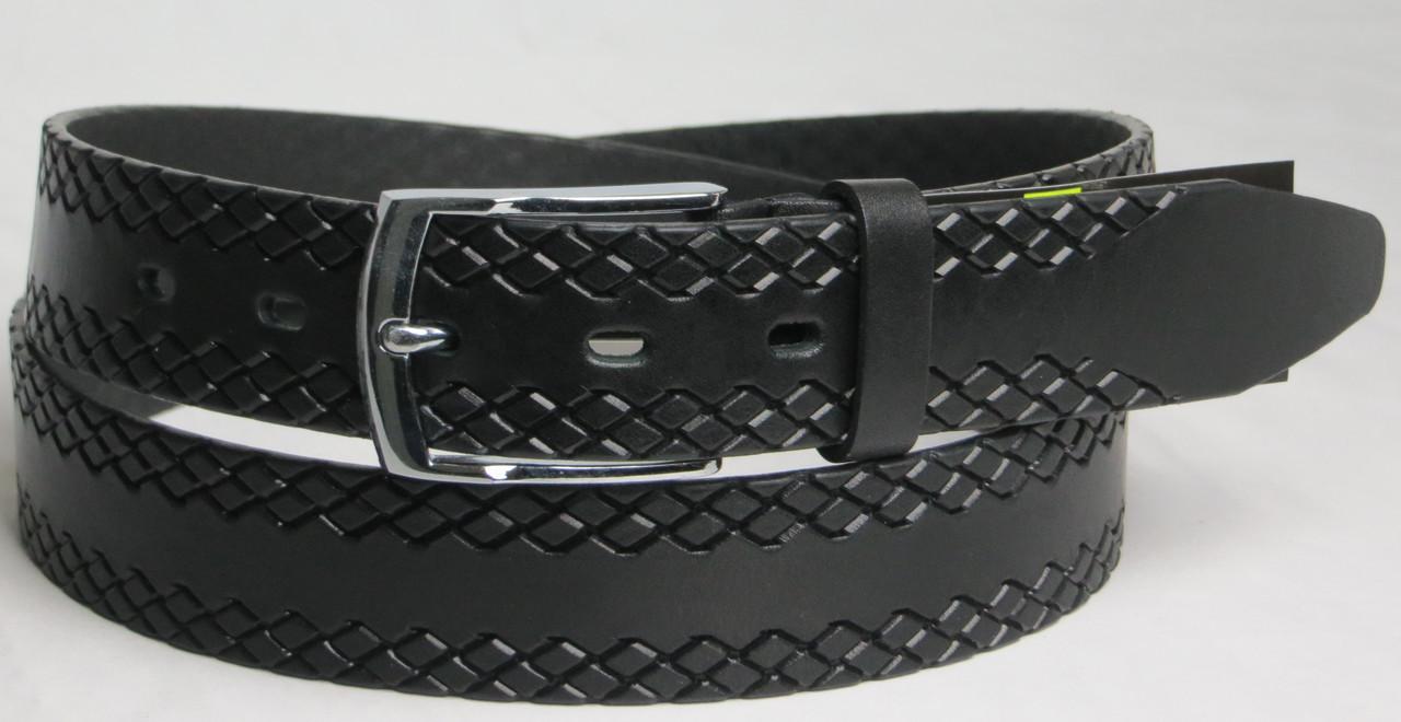 Брючный мужской кожаный ремень Skipper 2808 чёрный ДхШ: 125х3,5 см.
