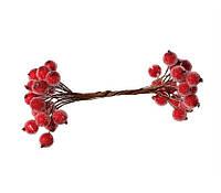 Сахарные ягодки ярко-красные 12 мм пучок 20 шт (40 ягодок)