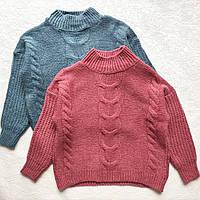 Жіночий теплий светр під горло Oversize - м'яка приємна в'язка, фото 1