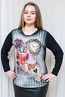 Батальная женская кофточка в модный принт