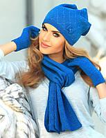 Теплая и очень красивая шапочка, украшенная россыпью страз и милым бантиком от Kamea - Klara.
