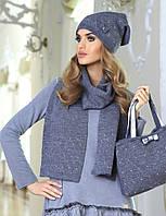 Теплая и очень красивая шапочка и шарфик, украшенные россыпью страз и милым бантиком от Kamea - Klara.