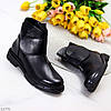 Молодіжні стильні чорні жіночі черевики на липучці низький хід, фото 10