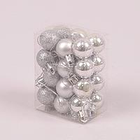 Набір пластикових срібних новорічних куль 24 шт. D-2.5 см. 44443