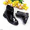 Лаковые глянцевые стильные черные женские ботинки на липучке низкий ход, фото 9