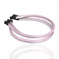 Обруч металлический с атласной лентой бледно-розового цвета