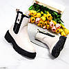 Зимние светлые бежевые женские ботинки челси с эластичными вставками по бокам, фото 6