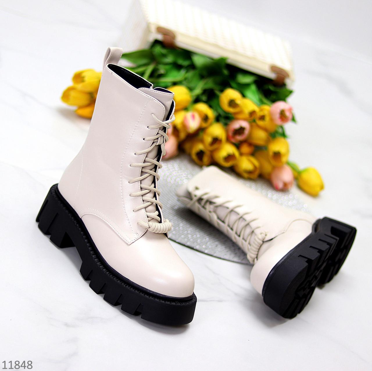 """Зимние светлые бежевые женские ботинки """"мартинсы"""" на молнии на шнуровке"""